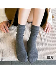 XIU*RONG Calcetines De Algodón Fino Medias Calcetines Calcetines Niños Verano Femenina,F,Gris Oscuro