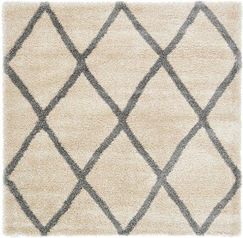 8 Square-beige-teppich (Moderne geometrische Plüsch Luxe-Gitter Shag modernes Bereich Teppich, beige, 8 x 8 square)