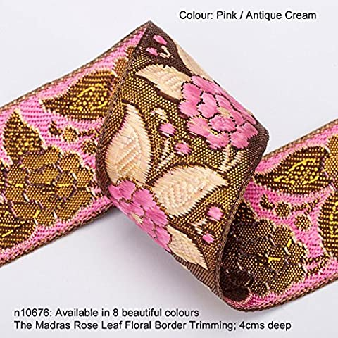 Neotrims Madras Rose Leaf Floral Ribbon with Antique Metallic Gold