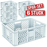 6x Eurobehälter durchbrochen / Stapelkorb, lebensmittelecht, LxBxH 600 x 400 x 240 mm, weiß