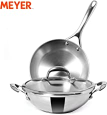 Meyer Stainless Steel Frypan and Kadhai/Wok 3 Piece cookware Set, Interchangeable Lids, Induction Compatible