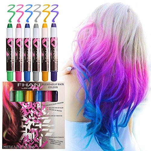 Luckyfine Tiza temporal del pelo - Tizas de 6 colores - Ideal para fiestas de disfraces, disfraces de rendimiento