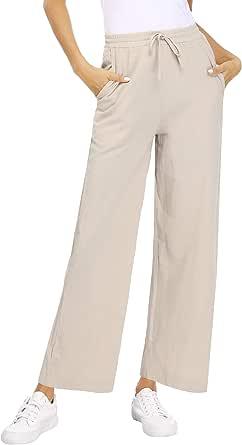 Akalnny Pantaloni Donna Casual Pantalone con Coulisse Elastico in Vita Pants Estivo con Tasche