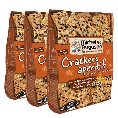 Michel et Augustin Crackers apéritif huile d'olive et sel de Guérande aux graines de sarrasin, de tournesol et de sésame noir 65g - Lot de 3