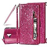 SKYXD Glitter Reißverschluss Brieftasche Hülle für Samsung Galaxy J6 Plus, Stilvoll Luxus Bling Strass Wallet Stoßdämpfende Multifunktion Magnetisch Etui für Samsung Galaxy J6 Plus(Rose Rot)