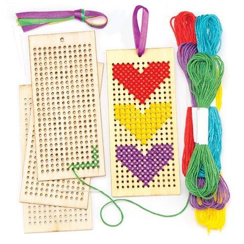 Holzlesezeichen-Bastelsets mit Kreuzstich für Kinder zum Nähen und Gestalten (4 Stück) (Jar Spielen Geld)
