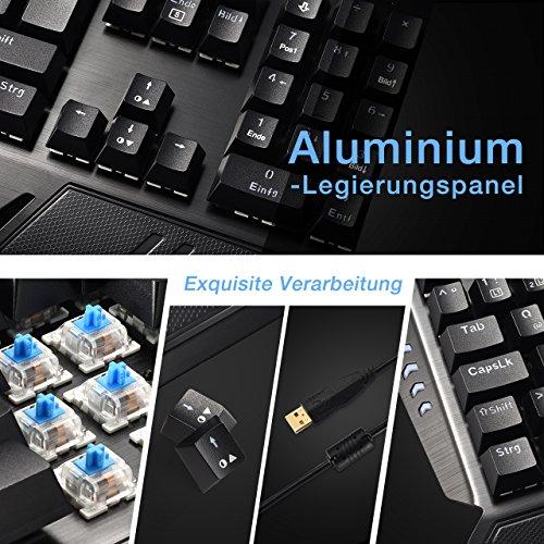 Gaming Tastaturen, TopElek Mechanische Gaming Tastatur 105-Key Blue Switches Aluminium-Legierungspanel Gaming Keyboard, Keyclick mit Multi-Color-Beleuchtung und USB-Kabel Angeschlossen mit Key Cap Puller für Gamer, Schreibkräfte usw.-Deutsches layout QWERTZ - 6