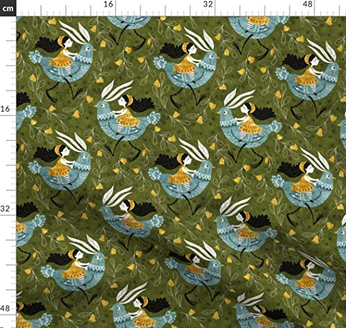 Grün, Fee, Verspielt, Kinder Stoffe - Individuell Bedruckt von Spoonflower - Design von Gaiamarfurt Gedruckt auf Leichter Baumwoll Twill -