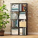 Koossy Metallregal Regalschrank Steckregal Bücherregal 8 Fächer für Arbeitszimmer und Kinderzimmer, Schwarz
