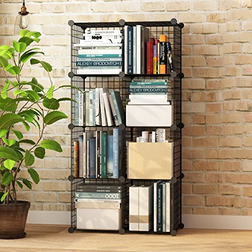 Koossy Metallregal Regalschrank Steckregal Bücherregal 8 Fächer für Arbeitszimmer und...