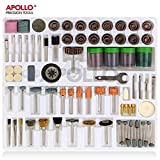 """Apollo 225 pc Rotary Tool Accessory Tool Kit with 1/8""""(3.2mm) Universal Shank Size for Cutting, Grinding, Sanding, Sharpening, Carving & Polishing in Storage Tray – Compatible with Dremel"""