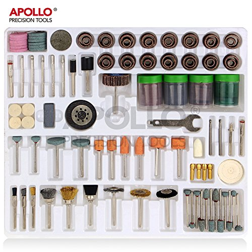 "Apollo 225 pc Rotary Tool Accessory Tool Kit with 1/8""(3.2mm) Universal Shank Size for Cutting, Grinding, Sanding, Sharpening, Carving & Polishing in Storage Tray – Compatible with Dremel"