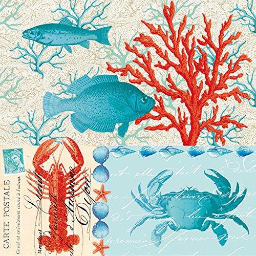 Ambiente servilletas de papel Almuerzo/Fiesta/CA. 33x 33cm agua mundo crema--de Langosta Cangrejo-peces-Ideal como un regalo
