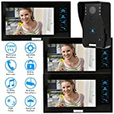 KKmoon 7 Inch Video Door Phone Intercome with 3 Monitors and 1- Camera Doorbell Video Entry System Intercom Kit Touch Button Remote Unlock Night Vision Rainproof