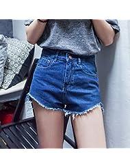 YFF Short en jean taille haute slim code gros glands occasionnels pantalons Sexy hot,L,Blue