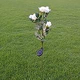 Solar-Leuchte Künstliche Rose Blume LED-Licht 3Köpfe Solar Rose Blume Beleuchtung Außenbereich Deko Landschaft LED Rose weiß