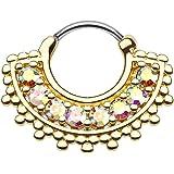 Beyoutifulthings - Anello per piercing universale con zirconi, per petto, naso, orecchio, chiusura a scatto, in acciaio chirg