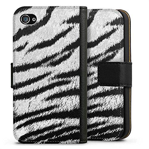 Apple iPhone X Silikon Hülle Case Schutzhülle Weißes Tiger Fell Look Muster White Animal Print Sideflip Tasche schwarz