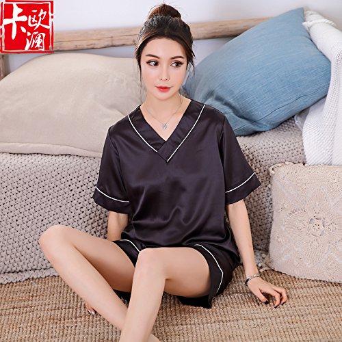Mädchen-seiden-pyjama (WXIN / Mädchen Pyjamas/EIS Seide/Zwei Anzüge Teenager/Oberbekleidung/Studenten/L/Dunkelgrau)