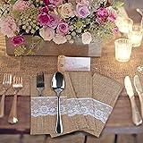 YunNasi 50 Stück Natur Jute Besteck Messer und Gabeln Besteck Set Bestecktasche Halter Sackleinen Lace Party Hochzeit Dekor , 4 x 8 Inch
