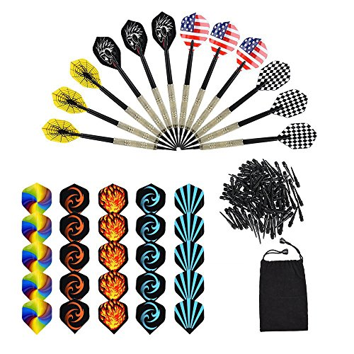 OIZEN Dartpfeile, Soft Dartspfeile 12 Stück Dartpfeile Plastik Spitze Set für Elektronische Dartscheibe Brass Darts mit 30 Flights und 100 Tips
