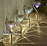 Colour Changing Stainless Steel Diamond LED Solar Lights Garden Stake Lanterns (4 Solar Lights)