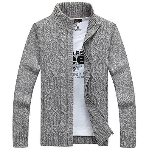 Insun Herren Strickjacke Cardigan mit Stehkragen Zipped Jacket Grau XL (Herren-pullover V-ausschnitt Alpaka-wolle Mit)