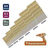 NebulAcc HSS Metall Spiralbohrer-Set 1/1,5/2/2,5/3/3,5mm Titan-Nitrit Beischichtung Ersatzbohrer Metallbohrer Bohrersets, 60-teilig