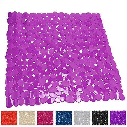 MSV 140887 Duschmatte Badematte Duscheinlage antibakteriell rutschfest mit Saugnäpfen - Fuchsia/Rosa - ca. 53 x 53 cm
