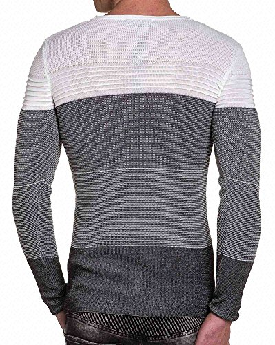 BLZ jeans - Pullover tricolore slim fit bandes relief Blanc