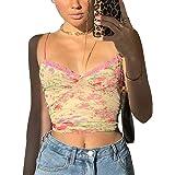 Onavy Crop Top Corto da Donna in Pizzo Canotta Sexy Ragazza con Cinturino Shirt Corto Sexy Elegante Intimo Donna Senza Manich