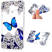 MAXFE.CO Coque pour Samsung Galaxy A3 2016 Housse Etui de Protection Silicone Souple Dessin Original Motif TPU Gel Ultra Fine Case Cover - Papillon Bleu
