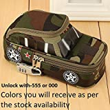 #6: SaleOn™ Pencil case Vehicle Pen Pouch Bag with Combination Lock Boys Double Zipper Camouflage Canvas Large School Pencil Box military-617