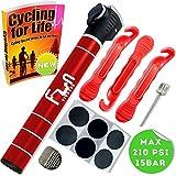 Mini Bomba DE Bici (Rojo) con Kit Reparador De Neumáticos Y Parche Sin Punción Sin Pegamento  Micro Portátil De Aire para Bicicletas  Diseñado para Válvulas Schrader & Presta & Pelota