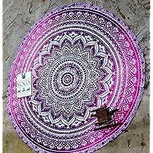 RawyalCrafts indio Ombre Mandala redondo Roundie Beach manta tapiz Hippy Boho Gypsy algodón alfombra de Yoga redonda