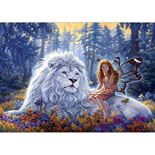 Fairylove 12×16 Zoll Diamant Malerei Kit Vollkreuzstich Kits Diamant Dotz für Spaß Diamant Stickerei Kit, Elf und White Lion