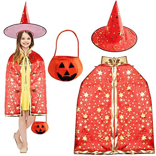 Imagen de capa de capa de halloween disfraz de halloween capa del bruja mago con sombrero calabaza basket para niños niñas de outee, rojo