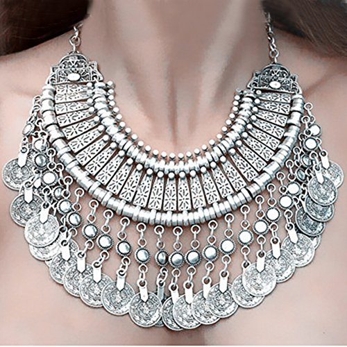 Bei wang New Fashion Silver Coins Statement Bib Chunky Choker Necklace Pendant for women girls
