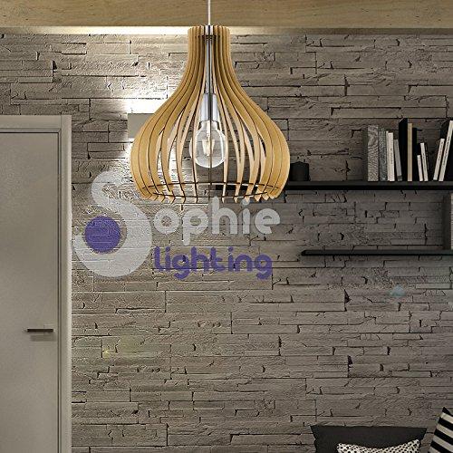 Hängelampe Pendelleuchte verstellbar Durchmesser 38cm Höhe 110cm Design Modern Holz Ahorn Stahl chrom satiniert Esszimmer Esstisch Küche Wohnzimmer Shop Showroom EG 85269Sophie Lighting -