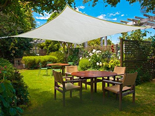 SUNLAX Vela de sombra rectangular 3 x 4 metros, toldo resistente e impermeable, para exteriores, jardín, Color Crema