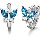 Orecchini a cerchio in argento Sterling 925 con farfalla e cristalli portafortuna, regalo di compleanno per donne e ragazze e