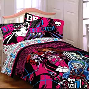 monster high ensemble de literie lit simple unique 4 en 1 set couette drap housse drap. Black Bedroom Furniture Sets. Home Design Ideas