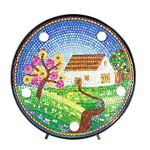 Everpert Diamond Painting Kit LED Dekoratives Licht Diamant Malerei Haus Home Schlafzimmer Nachtlicht Schreibtisch Dekoration Nachtlicht -
