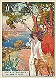 Vintage Travel France per Antibes in the cote d' Azur 250gsm lucido arte C1910della riproduzione A3poster