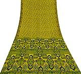 Vintage Indian Gelb Saree Reine Seide Stoff mit