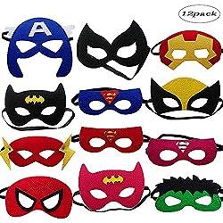 LMYTech 12 Piezas Máscaras de Superhéroe Máscara para Niños / Fieltro Máscaras / Cuerda Elástica / Perfecto para Niños Mayores de 3 Años / Fiesta para Niños Juguete de Regalo