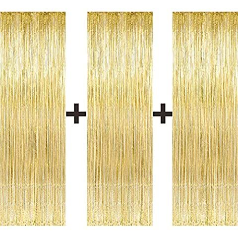 3 Pcs Large/Big 3ft x 8ft Gold Fringe Foil Curtain party tassel (You Will Receive 3 Top Quality