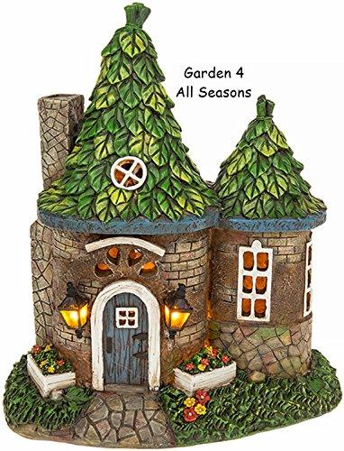 Solar Powered Fata illuminato rotonda Cottage/Abitazione decorazione da giardino