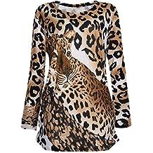 Vbiger Vestido de Playa con Estampado de Leopardo Blusa de Mujer con Cuello Redondo