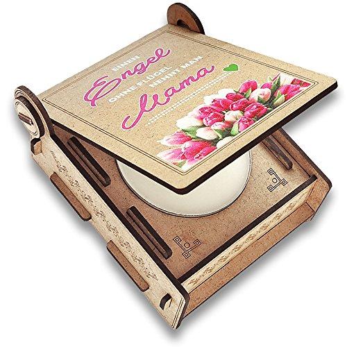 CANDLE in the BOX Geschenk-Box mit Botschaft & Kerze | Geschenk für Mama zum Geburtstag | Engel ohne Flügel Nennt Man Mama | Dankeschön für Alles (Rosa)